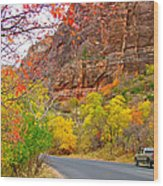 Autumn On Zion Canyon Scenic Drive In Zion National Park-utah  Wood Print