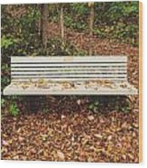 Autumn Park Bench Wood Print