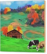 Autumn Pastures Wood Print