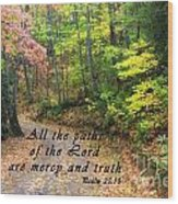 Autumn Path With Scripture Wood Print