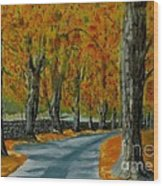 Autumn Pathway Wood Print