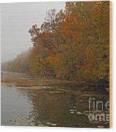 Long Lake In Autumn Wood Print