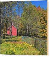 Autumn Red Barn Wood Print by Joann Vitali