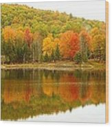 Autumn Reflection Panoramic View Wood Print