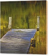 Autumn Reflections And Boat Dock On A Pond Near Yankee Springs Michigan Wood Print