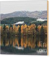 Autumn Reflections On Loch Ard  Wood Print