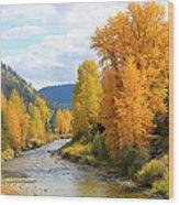 Autumn River In Montana Wood Print