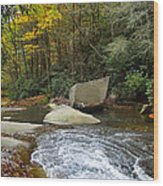 Autumn River Fall Wood Print