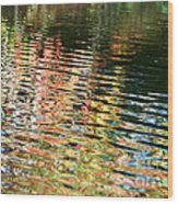 Autumn River Water Reflections  Wood Print
