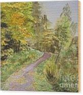 Autumn Riverside Walk Version1 Wood Print