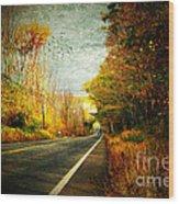 Autumn Road Connecticut Usa Wood Print