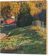 Autumn Road Morning Wood Print