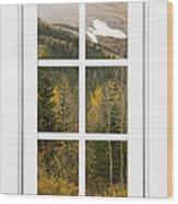 Autumn Rocky Mountain Glacier View Through A White Window Frame  Wood Print