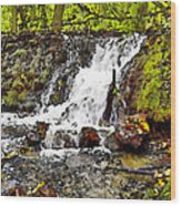 Autumn Scene With Waterfall In Forest Wood Print