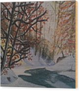 Autumn Snow Wood Print