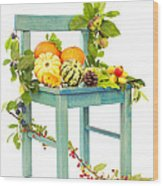 Autumn Still Life Chair Wood Print