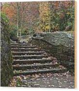 Autumn Stone Staircase Wood Print