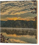 Autumn Sunrise At The Lake Wood Print