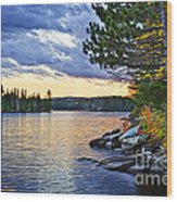 Autumn Sunset At Lake Wood Print