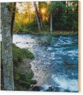 Autumn Sunset On Crabtree Creek Wood Print