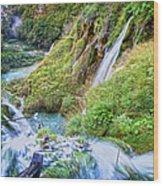 Autumn Valley Waterfalls Wood Print