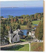 Autumn View On Mackinac Island Wood Print
