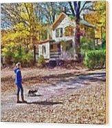 Autumn - Walking The Dog Wood Print