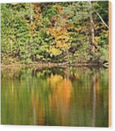 Autumn Watercolor Reflections Wood Print