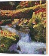 Autumn Waterfall Canvas Wood Print