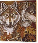 Autumn Wolves Wood Print