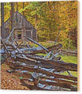 Autumn Wooden Fence Wood Print