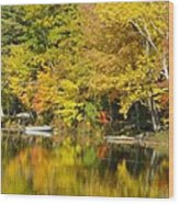 Autumn Yellow Reflections Wood Print