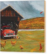 Autumnal Restful View-farm Scene Paintings Wood Print