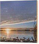 Autumnal Sunset At Del Norte Pier Wood Print