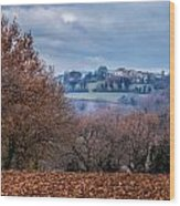 Autumns Leaves Winters Clouds Wood Print