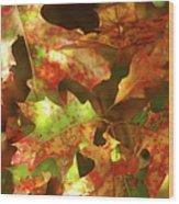 Autumn's Red Oak Leaves Wood Print