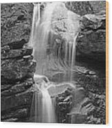Avalanche Falls In Flume Gorge - Black And White Wood Print