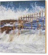 Avalon Rockpool With Crashing Waves Wood Print