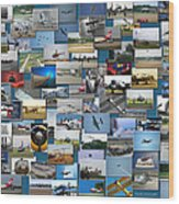 Aviation Collage Wood Print