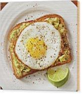 Avocado Toast With A Fried Egg Wood Print