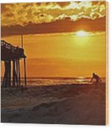 Avon Pier Sunrise Surfer 2 9/08 Wood Print