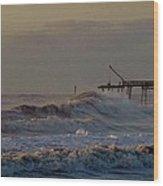 Avon Pier High Surf 3 3/11 Wood Print
