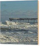Avon Pier Ocean Pounding 3 2/08 Wood Print