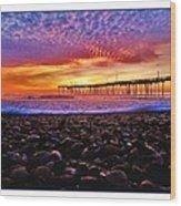 Avon Pier Shells Sunrise Wood Print