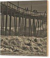 Avon Pier Stormy Sepia 3 10/13 Wood Print