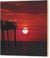 Avon Pier Sunrise 1 7/26 Wood Print