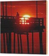 Avon Pier Sunrise 2 7/26 Wood Print