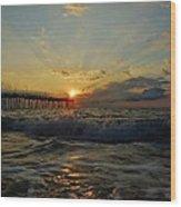 Avon Pier Sunrise Morning Sunbeams 7/26 Wood Print