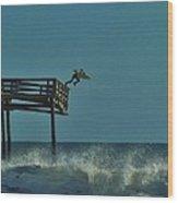 Avon Pier Surfers Leap 1 1/19 Wood Print