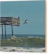 Avon Pier Surfers Leap 2 1/19 Wood Print